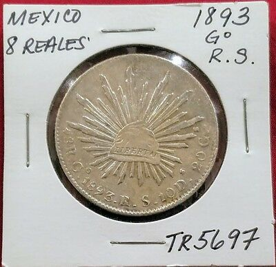 Mexico 8 Reales 1893 Go RS Silver, THIS COIN WAS WORLD CURRENCY OF 1800'S