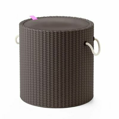 Keter Cool Stool with Rope Handles Taupe Outdoor Drink Cooler Storage Table