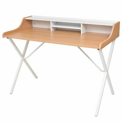 Natural Wood Workstation Computer Desk Built-in Shelf Office High Quality