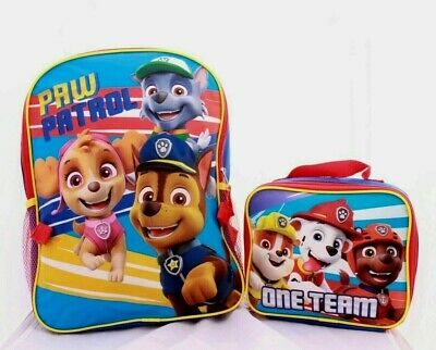 Paw Patrol Boys School Backpack Lunch Box Book Bag Combo Set Kids Children Chase
