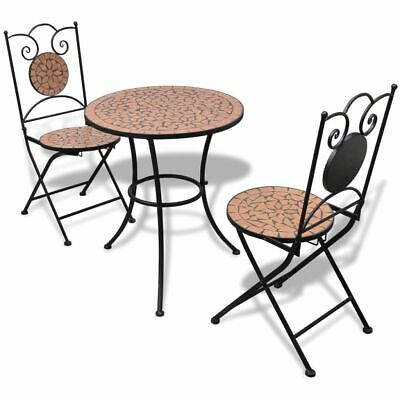 vidaXL Bistro Table 60cm Mosaic with 2 Chairs Terracotta Outdoor Furniture