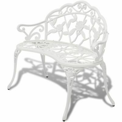 Garden Bench Outdoor Chair Park Seat Furniture White Cast Aluminium 2-seater