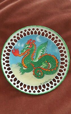 ORIENTAL CHINESE STYLE DRAGON dish trinket HANDPAINTED fine PORCELAIN signed