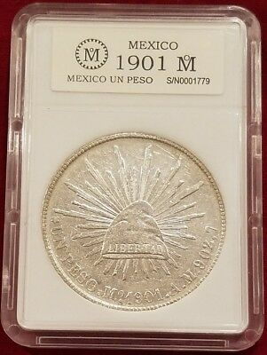 1901 Un Peso (AM) Mexico Silver Libertad Cap & Rays  27.07 Grams @ .903  38.5mm