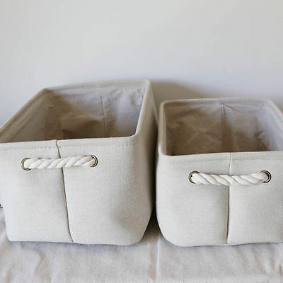 Collapsible Storage Bin Basket Foldable Fabric Cube Home Bin With Handles Canvas