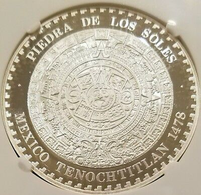MEXICO 1993 ONZA PROOF 1.0 OZ (33.1) Grams .999 Silver AZTEC CALENDAR, NGC PF67