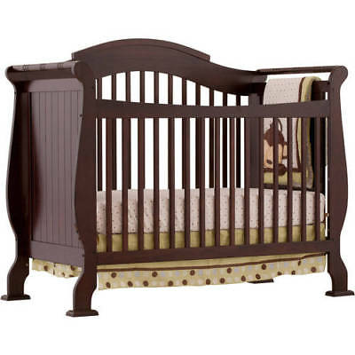 Convertible Baby Crib 4 in 1 Toddler Bed Rail Espresso Wood Nursery Furniture