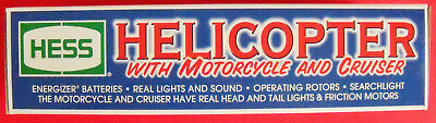 2001 Edition Hess Helicopter With Motorcycle And Cruise Lights & Sound Unopened
