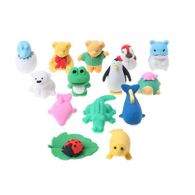14pcs Cartoon Animal Rubber Eraser Stationery School Supplies Erasers Funny Tool