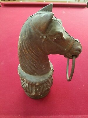 "Antique Original Rustic Cast Iron Horse Head /w Ring Hitching Post Top 13"" Tall"