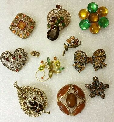 STUNNING LOT of 11 VINTAGE Mixed Orange RHINESTONE Studded BROOCHES Pins in EVC!