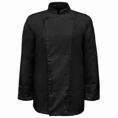 vidaXL 2x Chef Jackets Long Sleeve Size L Black Coats Wearing Cook Uniforms
