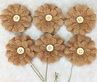 6 Burlap Flowers with Button 5cm Scrapbooking, Cake Decorating, Floristry BROWN