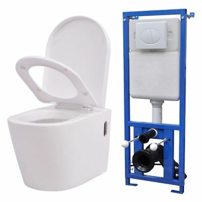 vidaXL Wall Hung Toilet Bathroom Bidet with Concealed Cistern Ceramic White