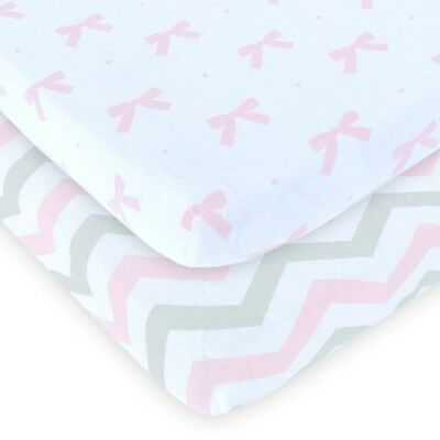 Playard Sheets Fitted Set of 2- 100% Jersey Cotton Unisex Mini Portable Crib NEW