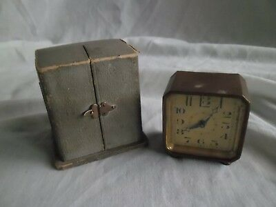 Vintage 1930s Selex DF&C Swiss Brass Travel Carriage Alarm Art Deco CLOCK + Case