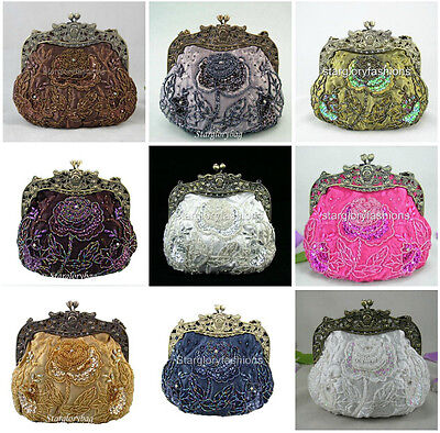Victorian Beaded Sequined Rose Wedding Bag Purse Clutch Evening Handbag Lots