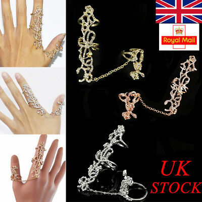 UK Stock Two Finger Fashion Ring Silver&Gold Womens Jewelry Lady Exquisite Gift