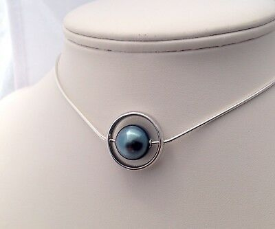 Free Shipping! 12mm AAA Tahitian Pearl floating on 925 Sterling Silver Necklace