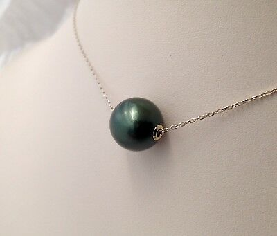 Free Shipping! 12mm AAA Tahitian South Sea Pearl floating on 9k White Gold Chain