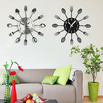 Modern Fork Kitchen Tableware Wall Pointer Pointer Analog Clock Home Decoration