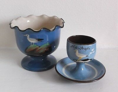 Vintage Babbacombe Torquay Pottery - Scalloped Bowl & Egg Cup - Blue Seagulls