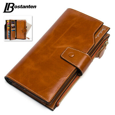 Women's Large Capacity Luxury Wax Genuine Leather Wallet With Zipper Pocket