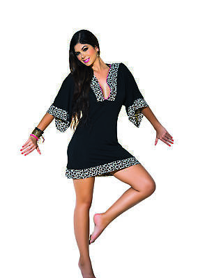 5c8351ef5c Mapale Black Beach Summer Holiday Dress Pool Beachwear Sundress Short Sleeve