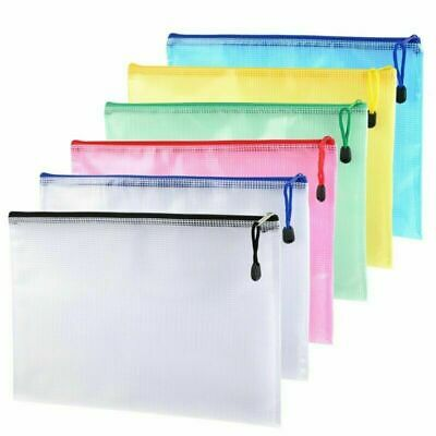 12Pcs Zipper File Bags A4 Size Mesh Document Office School Storage Organization