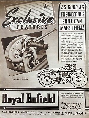 ROYAL ENFIELD neutral finder / ORIGINAL VINTAGE 1949 MOTORCYCLE SALES ADVERT