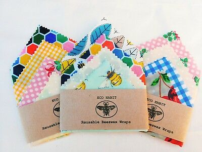 "Pk Of 4 ""Eco Habit"" 100% Natural Beeswax Food Wraps, Zero Waste, Biodegradable"