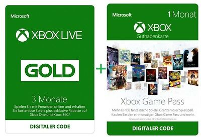 Xbox One Live Gold 3 Monate + 1 Monat Xbox Game Pass Lieferung Sofort per Email