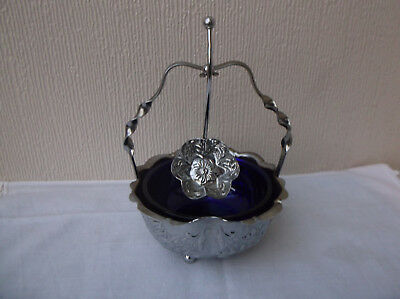Vintage Chrome / Blue glass sugar bowl with spoon