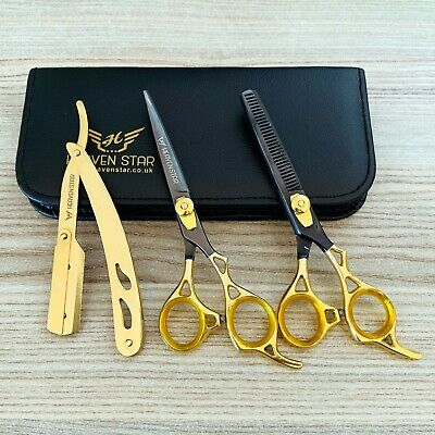 "Professional Barber Hairdressing Scissors Set 6.5"" THE GOLD BLACK & RAZOR Kit"