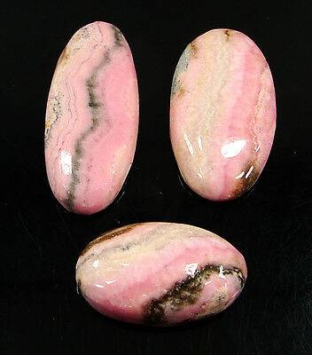 103.90 Ct Natural Pink Rhodochrosite Cabochon Loose Gemstone Lot 3 Pc new H-6709
