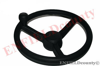 3DX JCB SOFT RUBBER 3 SPOKE BLACK STEERING WHEEL + WHEEL AID - SPINNER KNOB @AEs
