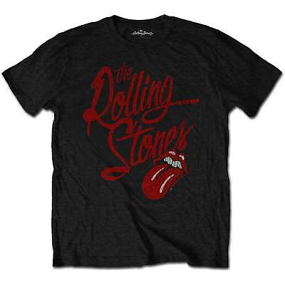 NEW The Rolling Stones Men's Tee: Script Logo (Soft-Hand Inks) (Large)