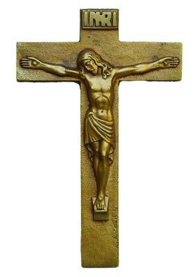 French Art Deco Religious Bronze Wall Cross Crucifix by R Artaud