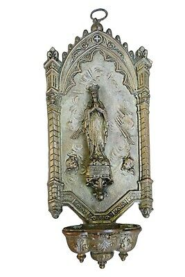 French Antique Neo Gothic Our Lady of Lourdes Wall Holy Water Font