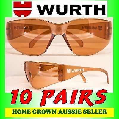 Wurth Safety Glasses  10 Pairs – Copper Tint , Uv Protection, Polycarbonate
