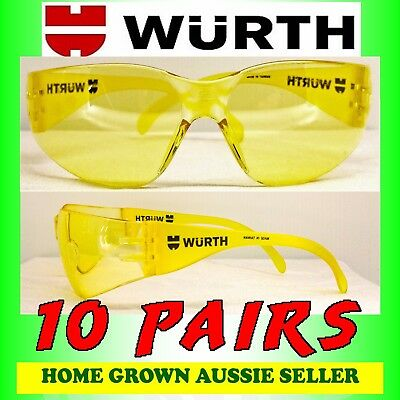 Wurth Safety Glasses  10 Pairs – Amber Tint , Uv Protection, Polycarbonate