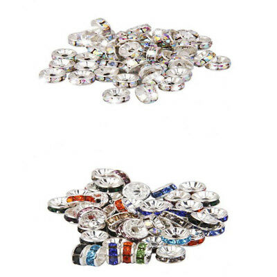 100pcs Czech Rondelle Beads AB Decor Rhinestone Spacer Findings Jewelry
