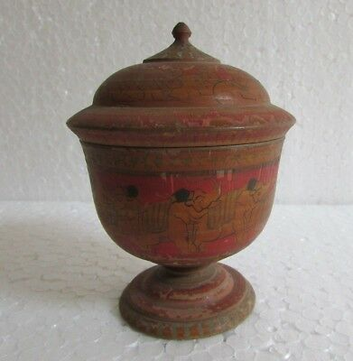 Vintage Old Handcrafted Hand Painted Wooden Tikka KumKum Powder Box Collectible