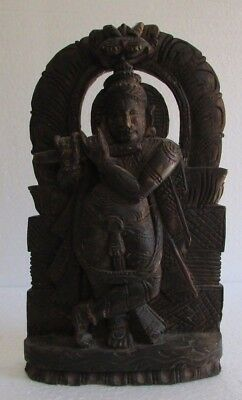 Vintage Old Hand Carved Wooden God Krishna Playing Flute Statue Figure  Panel