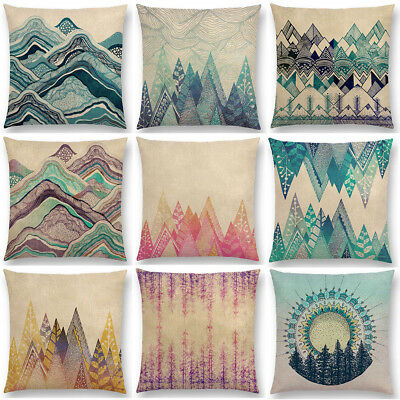 """Colour Forest Mountain Pattern Printed Waist Cushion Cover Linen Pillow Case 18"""""""