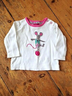 Girl's Joules long sleeve t-shirt age 6-9 months in white