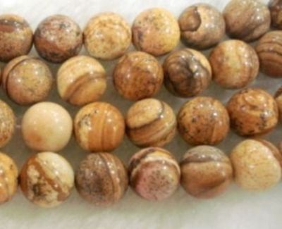 "6mm 15"" round Chinese Picture stone gemstone loose beads"