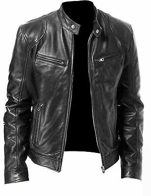 Men's Cafe Racer Black & Brown Biker Leather Jacket