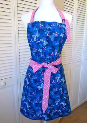 "Women's Apron Breast Cancer Awareness Pink Ribbon Adjustable ""D Ring"" Neck"