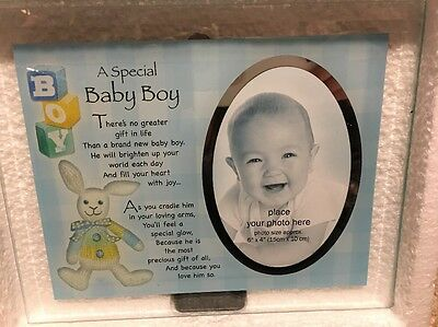 Baby Boy's First Picture Glass Frame